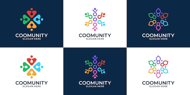 Set of people family, human unity, abstract colorful logo template.