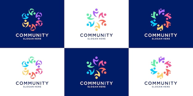 Set of people family and human unity logo template.