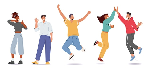 Set of people feeling positive emotions, giving highfive, show ok gesture, jumping with raised arms and showing thumb up