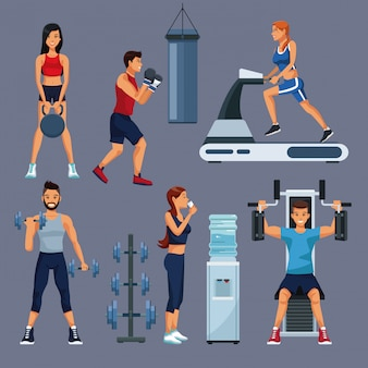 Set of people and gym equipment collection