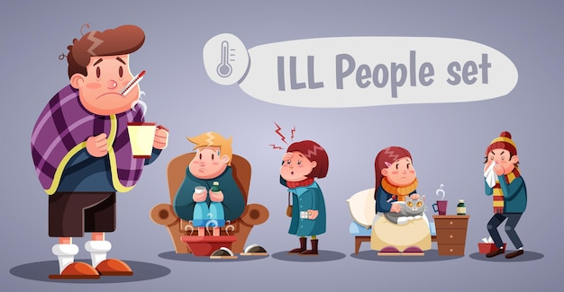 Set of people having cold, cartoon style illustration