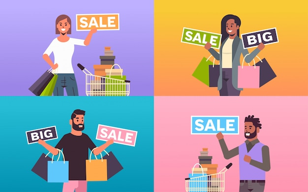 Set people holding purchases and big sale banners mix race men women customers with shopping bags special offer holiday discount concept flat portrait horizontal
