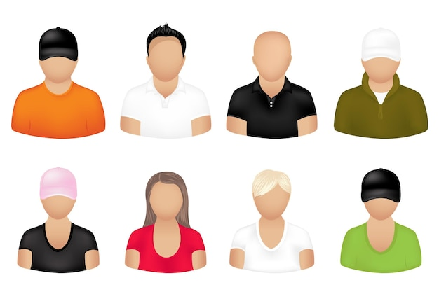 Set of people icons, isolated on white