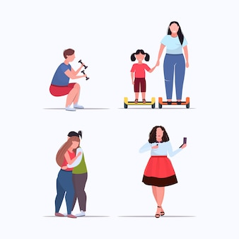 다른 포즈 과체중 남성 여성 체중 감량 비만 개념 컬렉션 평면 전체 길이에 사람들을 설정