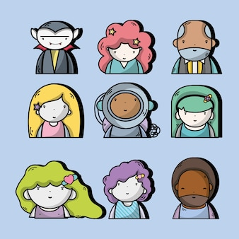 Set people kawaii avatar with expression