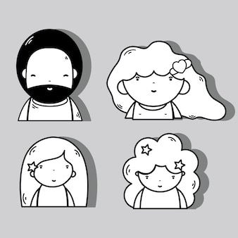 髪型と表現で人々のかわいいアバターを設定する