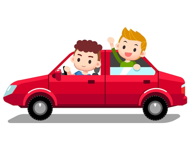 Set of people, man driving car with company, kid, children in back seat.