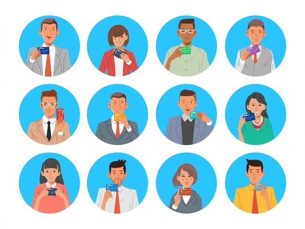 Set of people man and women holding card flat illustration