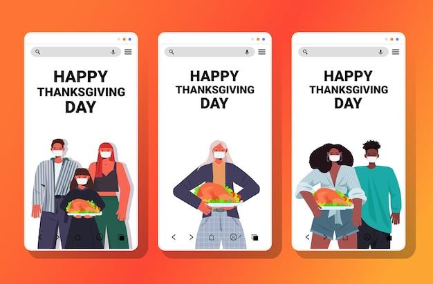 Set people in masks celebrating happy thanksgiving day mix race men women holding roasted turkey coronavirus quarantine concept