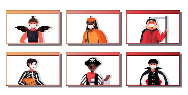 Set people in masks wearing different costumes happy halloween holiday celebration coronavirus quarantine concept web browser windows collection portrait