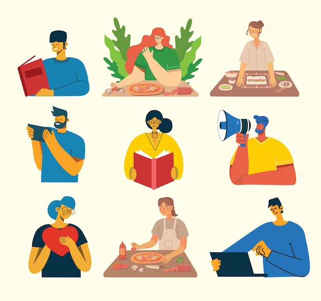 Set of people, men and women read book, work on laptop, search with magnifier, communicate