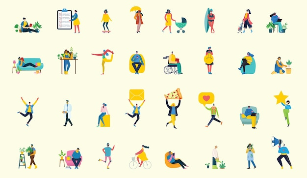 Set of people, men and women with different signs