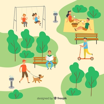 Set of people in the park
