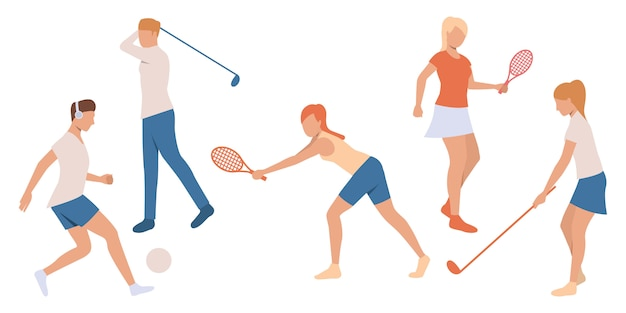 Set of people playing tennis and golf