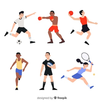 Set of people practicing sport