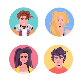 セットの人々プロフィールアバター美しい男性女性が男性女性の漫画のキャラクターに直面しています。