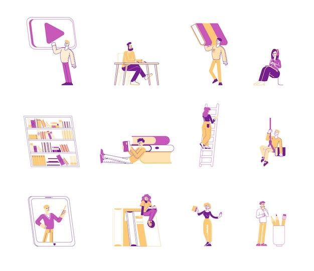 Set of people reading books illustration