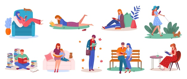 Set of people reading books isolated illustrations
