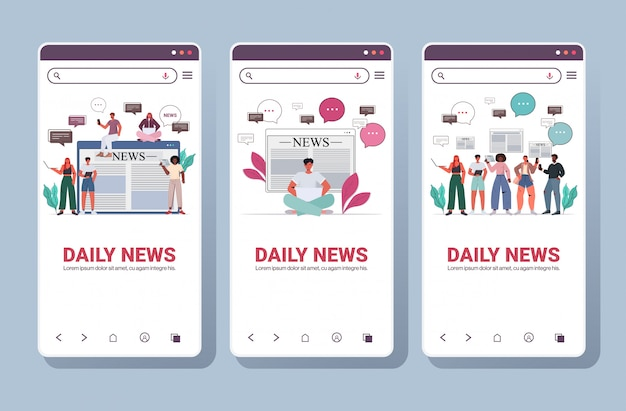 Set people reading and discussing daily news chat bubble communication concept smartphone screens collection portrait copy space horizontal illustration