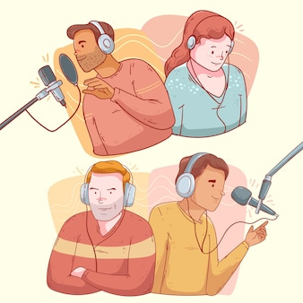 Set of people recording and listening podcasts