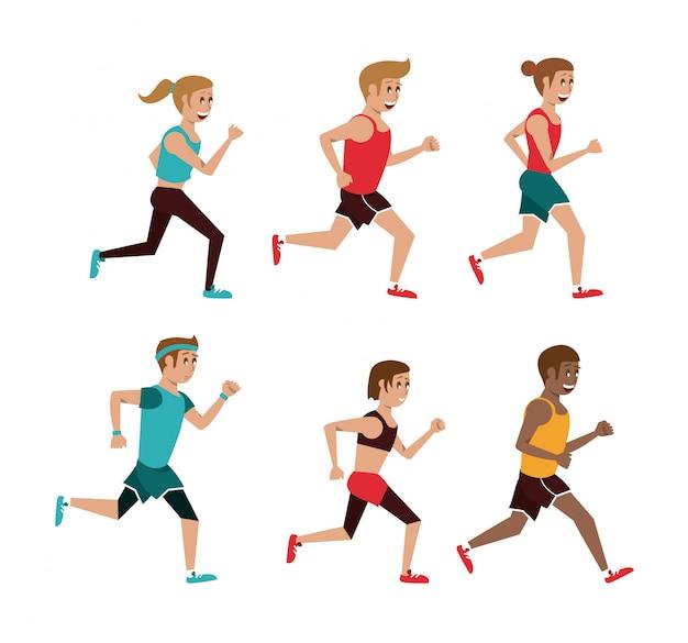 Set of people running cartoons