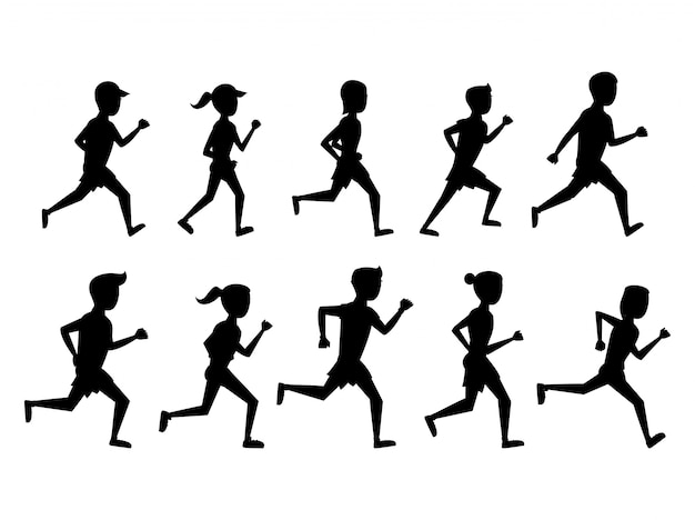 Set of people running icons