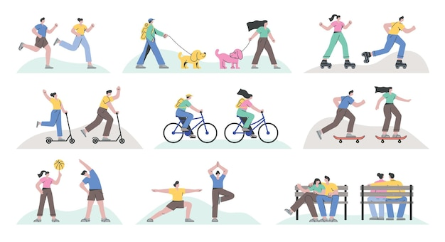 Set of people running skateboarding cycling roller skating exercising kick scooting doing yoga and resting