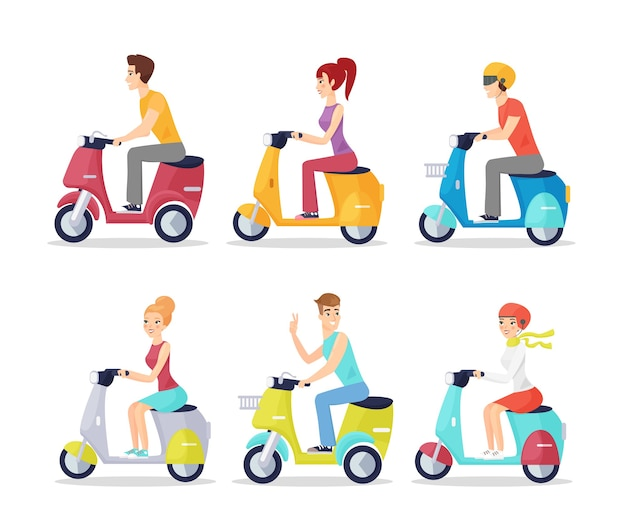 Set of people on scooters isolated on white