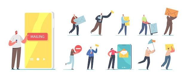 Set of people sending and receive mail. tiny male and female characters with huge smartphone, postman with parcel box, mailing service isolated on white background. cartoon vector illustration