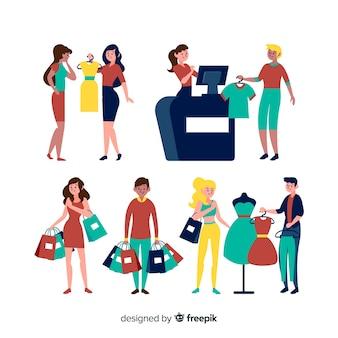 Set of people shopping