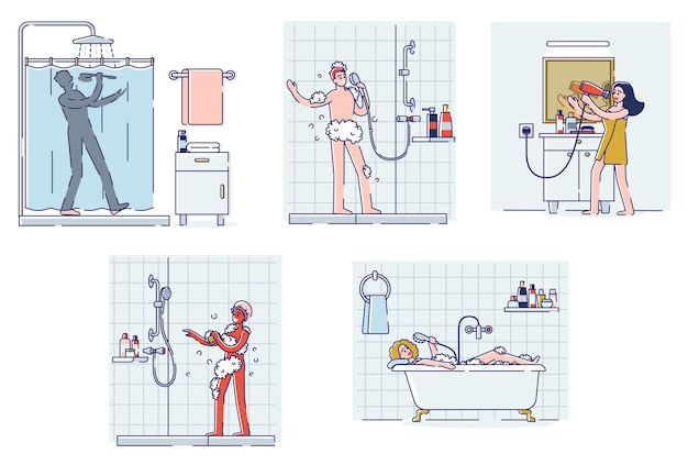 Set of people singing in bathroom. happy cartoon characters taking shower or bath, drying hair, sing and dance relaxed smiling
