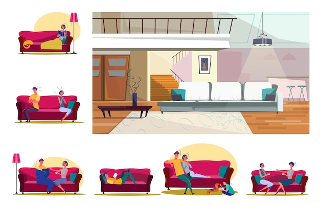 Set of people sitting on sofas in various positions