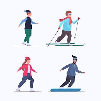 사람들이 스케이트 스키와 스노우 보드 과체중 혼합 남성 여성 다른 겨울 재미 스포츠 활동 체중 감량 개념 전체 길이 플랫 설정