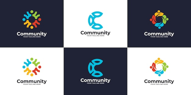Set of people social group logo or medical clinic logo design