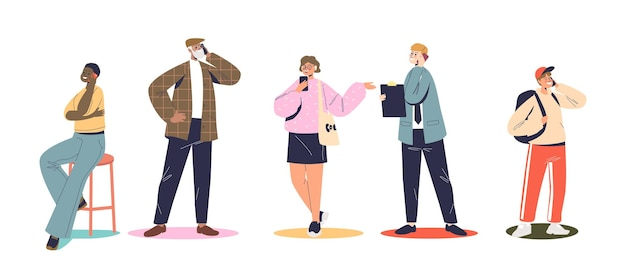 Set of people speaking on smartphone, different cartoon characters use mobile phones call and communicating with cellphones, having conversation on cellulars. flat vector illustration