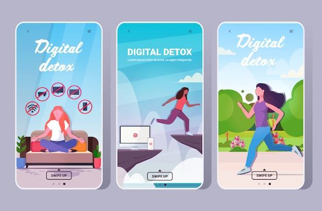 Множество людей, проводящих время без устройств цифровая концепция детоксикации женщины отказываясь от гаджетов
