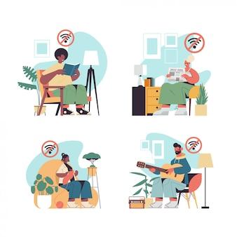 가제트 디지털 해독 오프라인 활동 개념없이 사람들이 시간을 보내는 설정