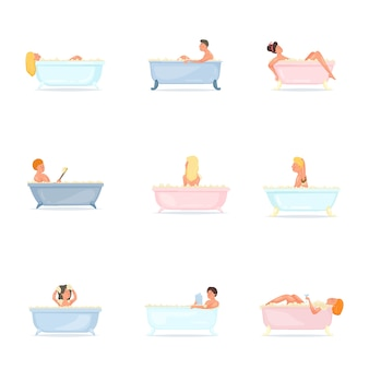Set of people take bath at home