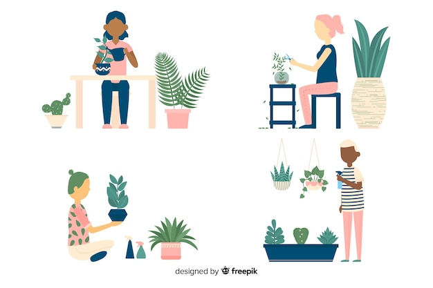 Set of people taking care of plants
