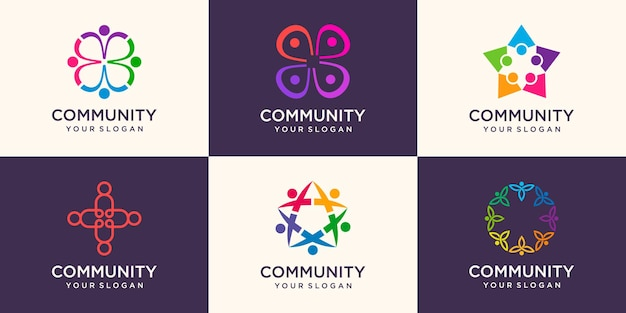 Set of people team logo with colorful design. simple logo design template