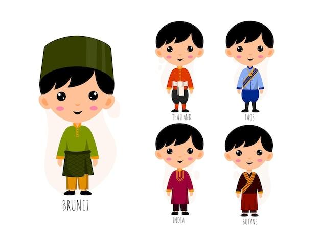 Insieme di persone in personaggi dei cartoni animati di abbigliamento asiatico tradizionale, concetto di raccolta di costumi nazionali maschili e femminili, illustrazione piatta isolata