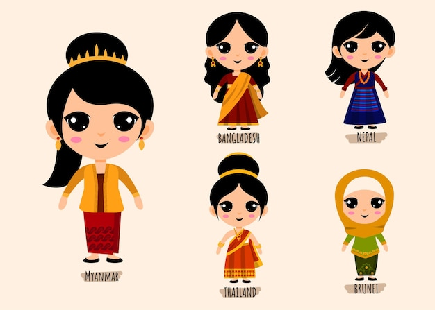 Insieme di persone in personaggi dei cartoni animati di abbigliamento asiatico tradizionale, concetto di raccolta di costumi nazionali maschili e femminili, illustrazione piatta isolata Vettore gratuito