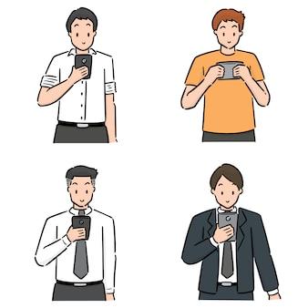 Set of people using smartphone
