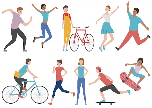 Set of people in various lifestyle isolated. vector flat illustration.