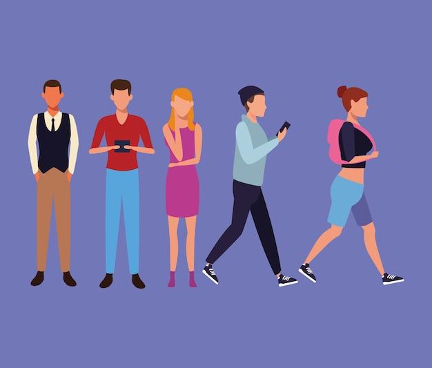 Set of people walking