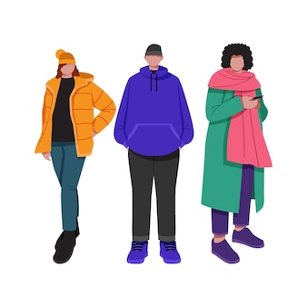 Set of people wearing cozy winter clothes