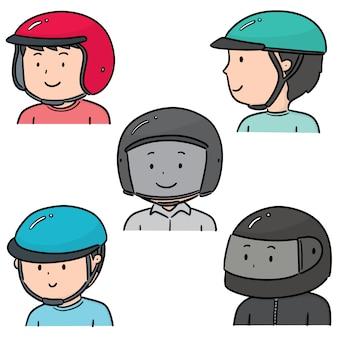 Set of people wearing helmet