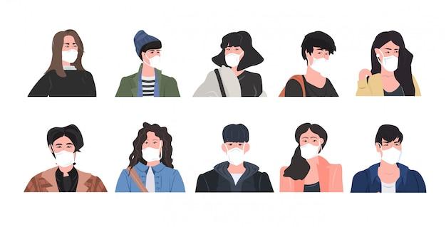 유행 우한 코로나 바이러스 유행성 의료 건강 위험 남성 여성 만화 캐릭터 컬렉션 세로 가로 방지 마스크를 착용하는 사람들을 설정