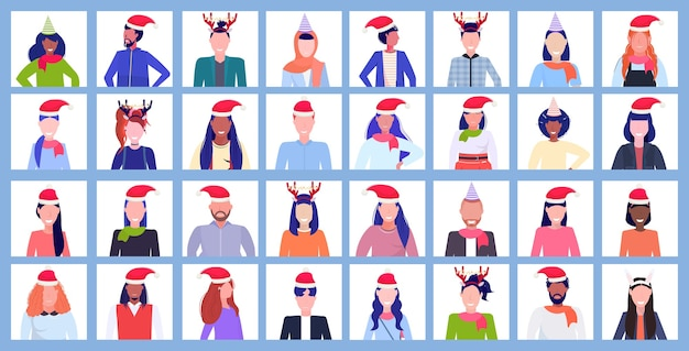 Set of people wearing santa hats and horns profile new year christmas holiday