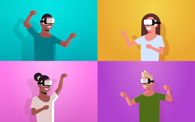 Set people wearing vr goggles headset mix race men women exploring virtual reality digital glasses while playing video game portrait horizontal